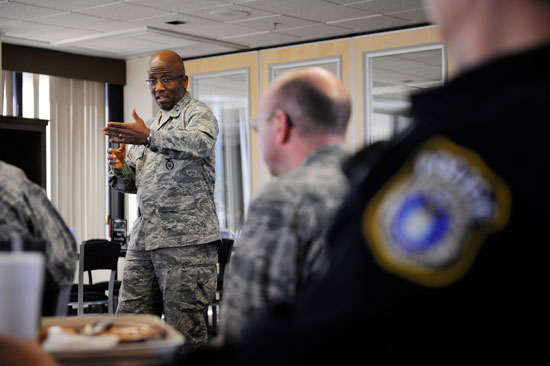 (U.S. Air Force photo/Christopher DeWitt) Brig. Gen. Allen Jamerson, Air Force Security Forces director and deputy Chief of Staff for Logistics, Installations and Mission Support, addresses 50th Security Forces Airmen during his visit Monday, at Schriever Air Force Base.