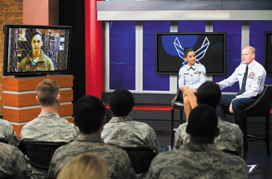 Chief Master Sgt. of the Air Force James A. Cody answers a question from an Airman, via a video message, during his 2nd worldwide CHIEFchat Jan. 9, 2014, at Defense Media Activity, Fort Meade, Md. During this session of CHIEFchat, Cody addressed upcoming changes to enlisted performance reports and effects of force management.