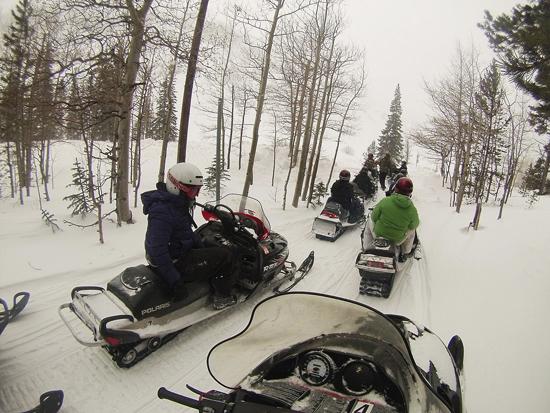 Courtesy photo/Staff Sgt. Cody Ott Schriever Airmen ride snowmobiles on a mountain trail near the Continental Divide during a snowmobile trip sponsored by the Single Airmen Initiative Feb. 13.