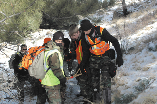 (U.S. Air Force/file photo) Cadets from the Colorado Springs Cadet Squadron at Peterson AFB participate in winter training. The training helped the cadets during a recent mission when they rescued a 66-year-old Kansas resident with Alzheimer's Disease who was lost for two days in freezing conditions on the Colorado plains.