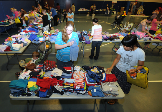 U.S. Air Force photo/Staff Sgt. Julius Delos Reyes Schriever and Peterson Air Force Bases are joining forces to host the third annual children's clothing swap from 10 a.m. to 2 p.m. April 26, 2014, at the Schriever Fitness Center.