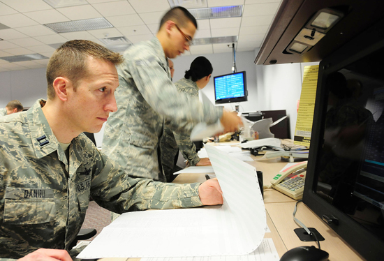 U.S. Air Force photo The 6th Space Operations Squadron executes primary satellite command and control of Defense Meteorological Satellite Program operations during the May 27-31 Continuity of Operations exercise at Schriever Air Force Base, Colo. Personnel from the National Oceanic and Atmospheric Administration, in Suitland, MD., traveled to Schriever AFB to provide key mission support during this year's COOP. The 50th Operations Group Detachment 1 retained Satellite Control Authority, and served as the primary liaison, oversight authority and lead for enterprise sustainability and customer responsiveness in Suitland.