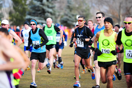 U.S. Air Force photo/Tech. Sgt. Nicholas B. Ontiveros Chief Master Sgt. Alex C. Escarcega (wearing bib 123) starts his race Feb. 15, 2014, at Flatirons Golf Course in Boulder, Colorado. Escarcega is part of the Air Force Space Command team that will compete at the Air Force Marathon in September at Wright Patterson Air Force Base, Ohio.
