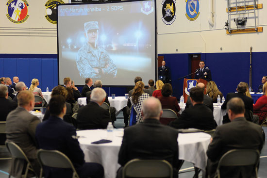 U.S. Air Force photo/Christopher DeWitt Col. Bill Liquori, 50th Space Wing commander, gives Schriever Air Force Base's first State of the Base address Feb. 25, 2015, at the Schriever Fitness Center. More than 35 civic leaders, Air Force retirees and representatives from Colorado Springs, Colo. were in attendance.