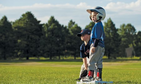 (U.S. Air Force photo by Airman 1st Class Rose Gudex) PETERSON AIR FORCE BASE, Colo. – Six-year-old Brecken Levy plays a game of t-ball with his friends at Patriot Park, July 28, 2015. He may have a disability, but he doesn't let that stop him from playing sports and making friends. The sports program at the R.P. Lee Youth Center makes inclusion important and create a family friendly environment where everyone enjoys the games.