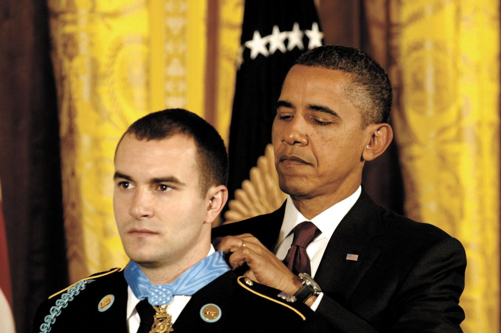 President Barack Obama presents the Medal of Honor to U.S. Army Staff Sgt. Salvatore Giunta during a White House ceremony, Nov.16, 2010. Giunta is the award's first living recipient since the Vietnam War.