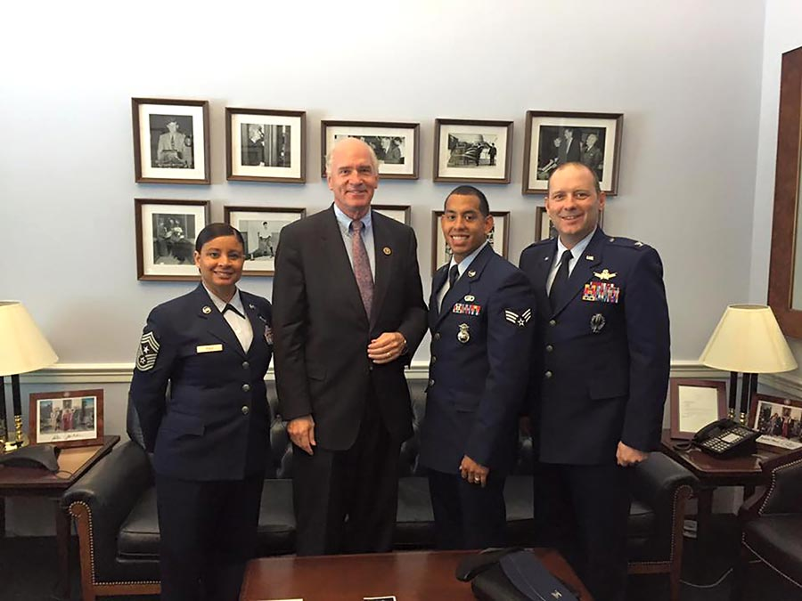 (courtesy photo) WASHINGTON — Leadership from the 21st Space Wing and an Airman from the 721st Security Forces Squadron meet with Massachusetts Representative Bill Keating during the 21st SW Capitol Hill visit, Oct. 7-8, 2015. The trip to Washington provided wing leadership a chance to meet congressional representatives and senators and share with them the mission and possible concerns.