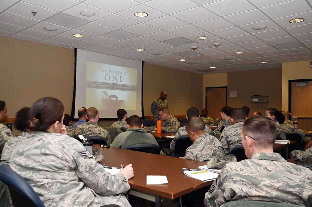 U.S. Air Force photo/2nd Lt. Darren Domingo Master Sgt. Rontrell Boone, Wing Staff Agency superintendent, leads Schriever personnel during a Total Force Leadership Development course on ethical leadership Thursday, Jan. 14, 2016, at Schriever Air Force Base, Colorado. During discussion times, Boone, a former military training instructor, shared many ethical decisions and dilemmas he observed and experienced during that four-year period of his service.