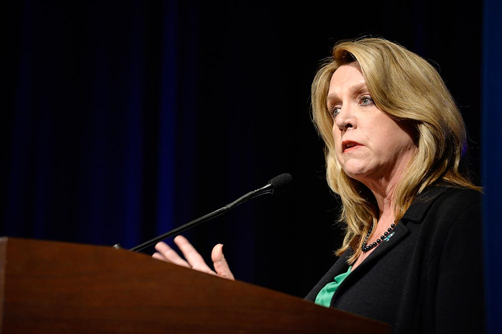 (U.S. Air Force photo/Scott M. Ash) Air Force Secretary Deborah Lee James speaks about the wingman's role in sexual assault prevention during a special Sexual Assault Awareness Month event at the Pentagon March 17, 2016. The event included participants who read actual victims' testimonials.