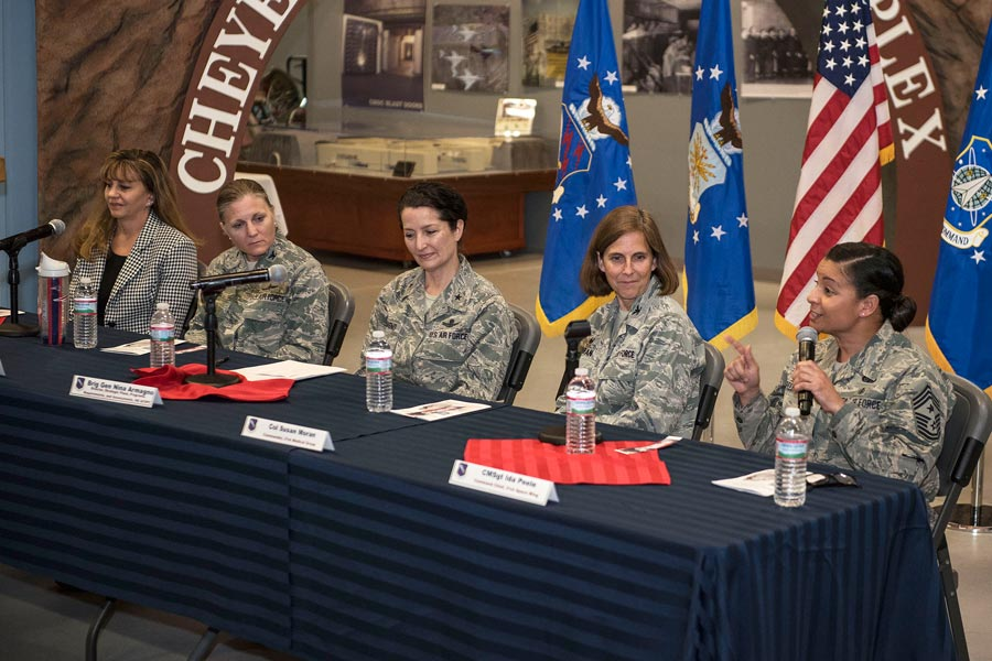 (U.S. Air Force photo by Philip Carter) PETERSON AIR FORCE BASE, Colo. — Chief Master Sgt. Idalia Peele, 21st Space Wing command chief, answers a question as part of a panel of female senior leaders from around the base, during a Women's History Month event held at the Peterson Air and Space Museum, Peterson Air Force Base, Colo., on March 9, 2016. Peele was one of the five panel members who discussed her experience as a female leader in the Air Force.