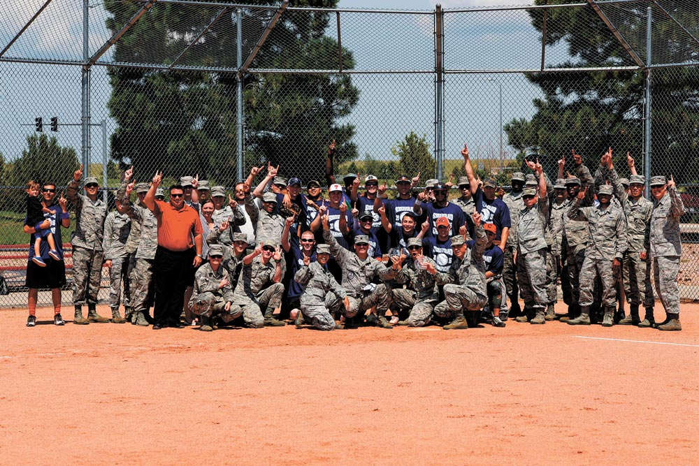 U.S. Air Force photo/Christopher DeWitt Intramural sports further the 50th Space Wing's Priority of investing in a culture of exceptional service and community for Team Schriever and their families by bringing units together in a common goal of athletic victory.
