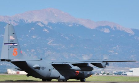 (U.S. Air Force photo/Daniel Butterfield) PETERSON AIR FORCE BASE, Colo. — A 302nd Airlift Wing Modular Airborne Fire Fighting System-equipped C-130H taxis on the runway at Peterson Air Force Base early Aug. 3, 2016. MAFFS was activated to assist with fire fighting efforts in the Western states. This is the first MAFFS activation of the season.