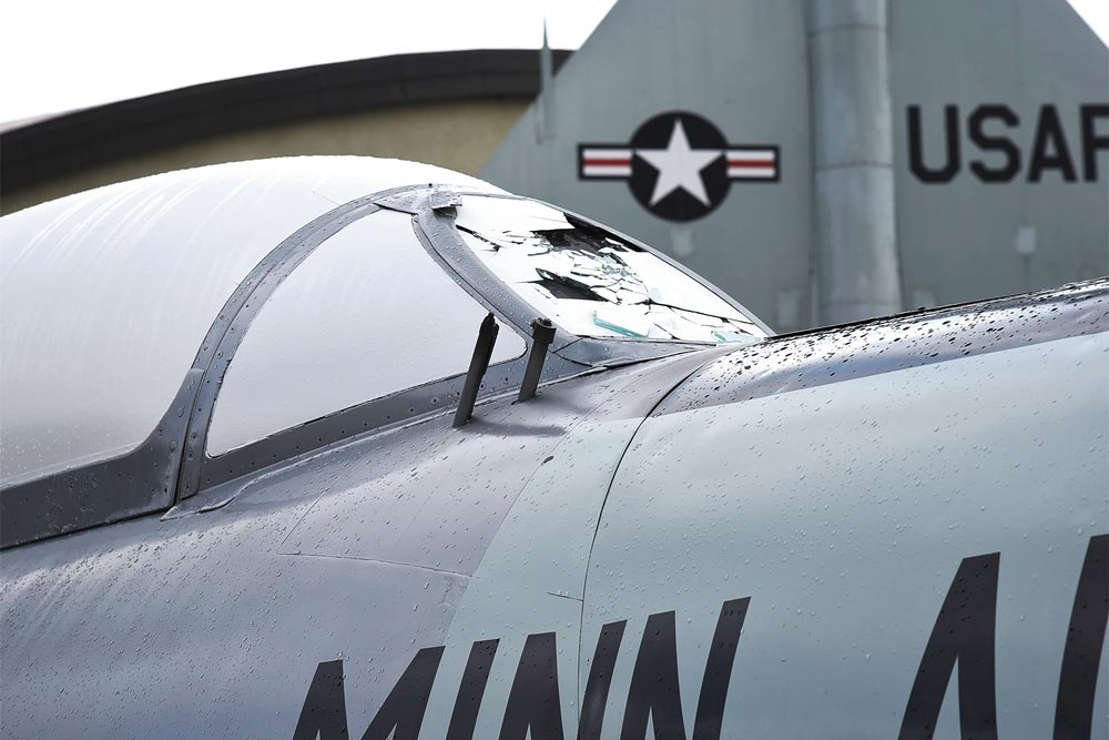 PETERSON AIR FORCE BASE, Colo. - An F-94 Starfire on static display at the Peterson Air and Space Museum was hit hard during the previous night's massive hail storm that swept across Peterson Air Force Base, Colo., Jul. 29, 2016. Not a single outdoor static display escaped unscathed from the storm.