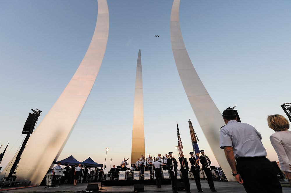 Arlington, Va. — A T-38 Talon formation flyover kicks off a public U.S. Air Force Band concert at the Air Force Memorial to honor Vietnam War veterans Aug. 26, 2016, in Arlington, Va. Prior to attending the concert, Air Force Undersecretary Lisa S. Disbrow and Chief of Staff Gen. Dave Goldfein welcomed Gen. Stephen W. Wilson as the service's new vice chief of staff at a reception in the Fort Myer Officer's Club.