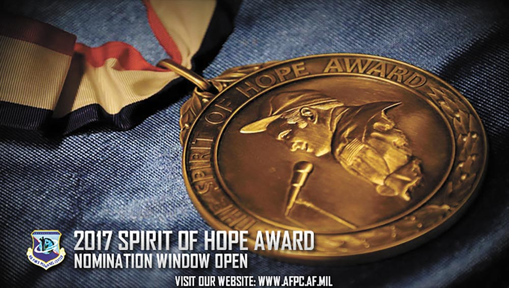 U.S. Air Force graphic by Staff Sgt. Alexx Pons The Spirit of Hope Award is named in honor of Bob Hope and is presented for outstanding service to the United States of America. Nominations are due to the Air Force Personnel center by Feb. 20, 2017.