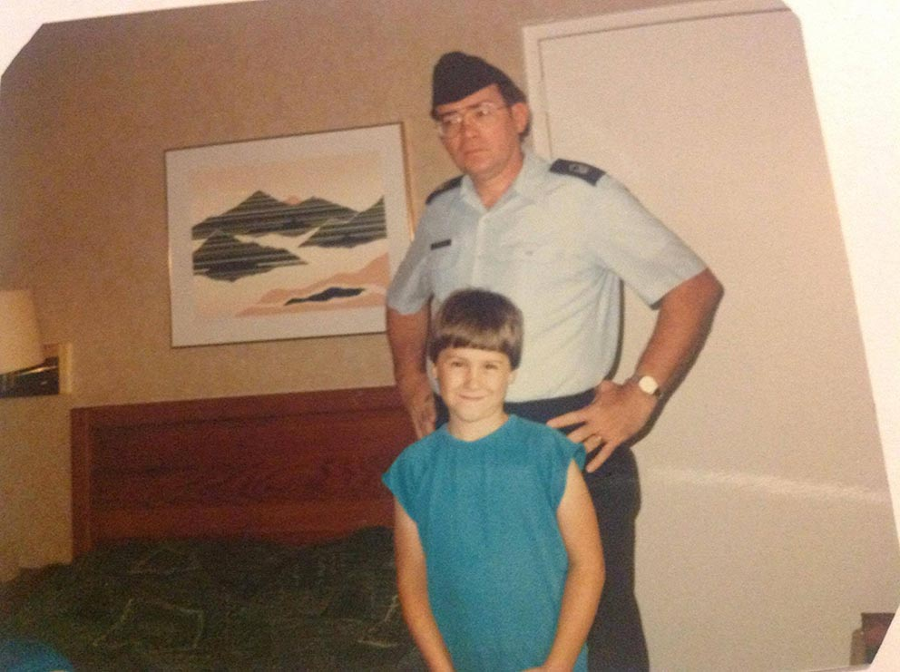 (Courtesy photo)  Shelby Hodges stands for a photo with his son, James, on his last day in uniform after 20 years of service, at McGuire Air Force Base, New Jersey, in 1986. April is designated the month of the Military Child to highlight the daily sacrifices they make while their loved ones are serving.
