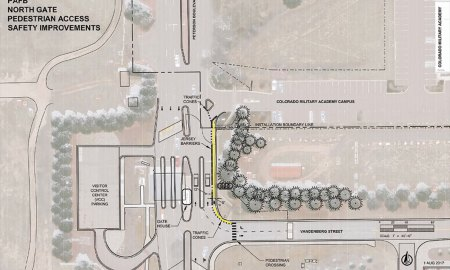 (Courtesy graphic) PETERSON AIR FORCE BASE, Colo. — 21st Space Wing Civil Engineer graphic design shows where a five foot crosswalk (yellow) will be built in Aug. 2017 at the Peterson Air Force Base north gate. The crosswalk provides safety for children attending a school which opens Aug. 28.