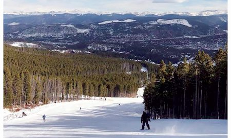 U.S. Air Force photo by Senior Airman William Nash Snowcapped Rocky Mountains can be seen from Breckenridge Ski Resort, Breckenridge, Colorado, Dec. 17, 2017. Breckenridge offers a variety of activities for both skiers and tourists alike, such as snowmobile tours, snowshoeing and tubing.