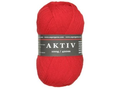 Aktiv Solid 4ply Sock Yarn 100g Red 1