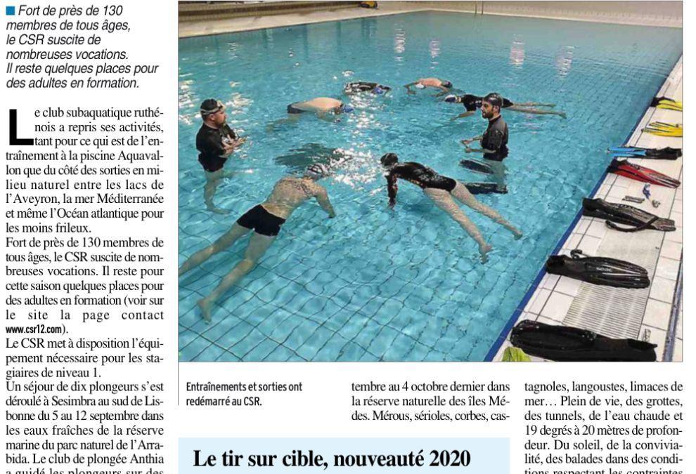 """""""Le club subaquatique replonge pour une année """" (La Dépêche du Midi, 17 octobre 2020)"""