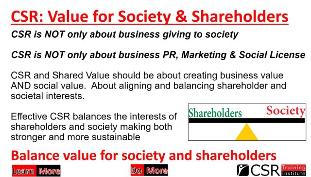 Value for society and shareholders