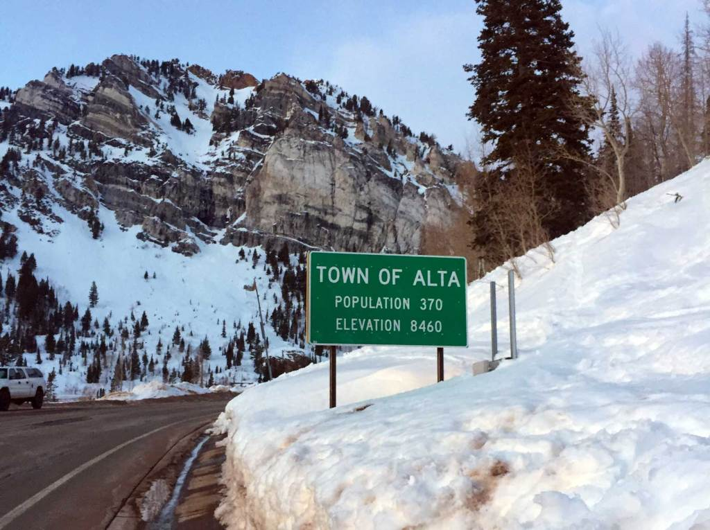 Image of a sign for the Town of Alta, population 370, elevation 8,460