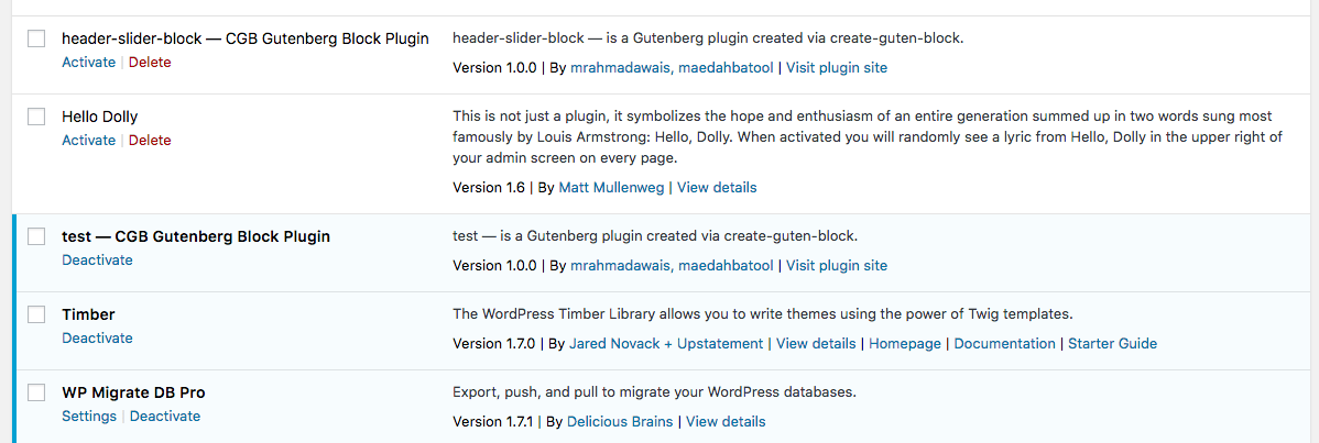 Screenshot of the Plugins screen of the WordPress admin showing the create-guten-block plugin is active