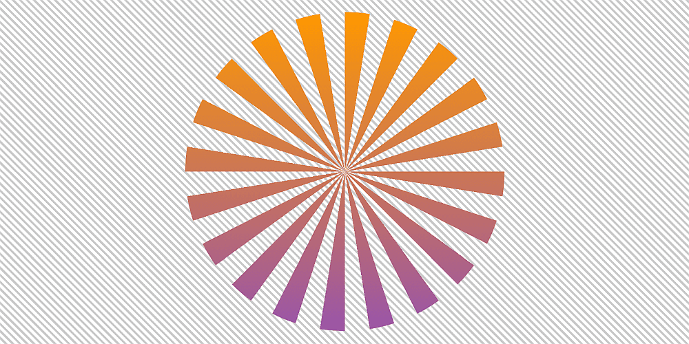 Screenshot of equal radial slices of a pie with transparent slices (gaps) in between them. The whole assembly has a top to bottom gradient (orange to purple).