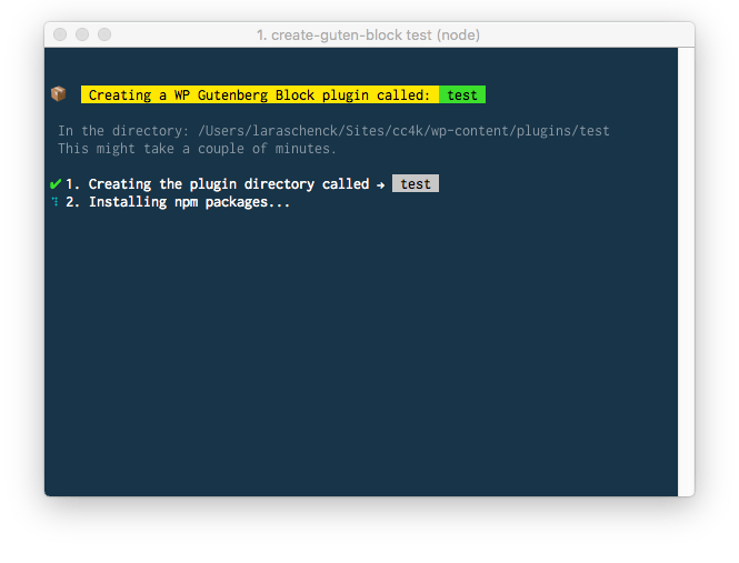 A screenshot of the integrated terminal showing the build process has started