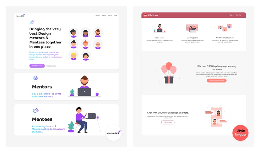 A side-by-side image showing two websites using unDraw SVG illustrations.