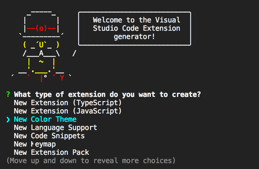 yeoman code generator welcome in terminal