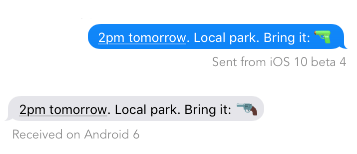 A text message with two chat bubbles. The top bubble shows a watergun next to the text and the bottom bubble shows a handgun.
