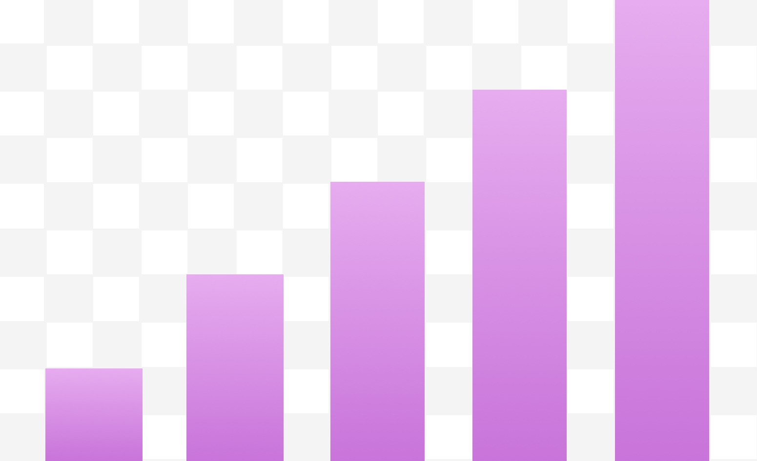 Five vertical purple bars that get progressively taller from left to right like a signal indicator on a cell phone.