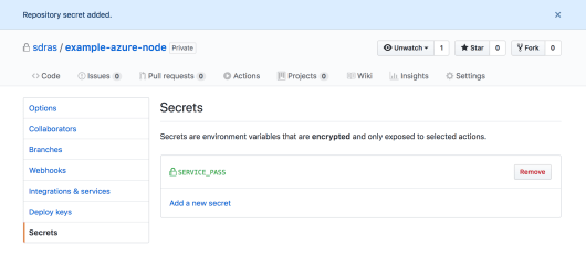adding a secret in settings