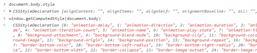 The CSSStyleDeclaration API in the DevTools console
