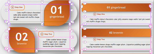On the left, a screenshot of the wide screen scenario. We have a three row, two column grid with the third row collapsed (height zero). The first level heading occupies either the column on the right (for odd items) or the one on the left (for even items). The second level heading is on the other column and on the first row, while the paragraph text is below the second level heading on the second row. On the right, a screenshot of the narrower scenario. In this case, the third row has a height enough to fit the paragraph text, but the second column is collapsed. The first and second level heading occupy the first and second row respectively.