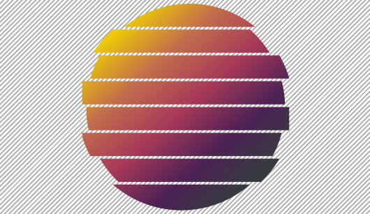 Screenshot. Shows a diagonal gradient disc that has been split into eight horizontal slices, one on top of the other, with tiny gaps in between them and slightly offset to the left or right (with respect to the vertical axis of the disc) based on parity.