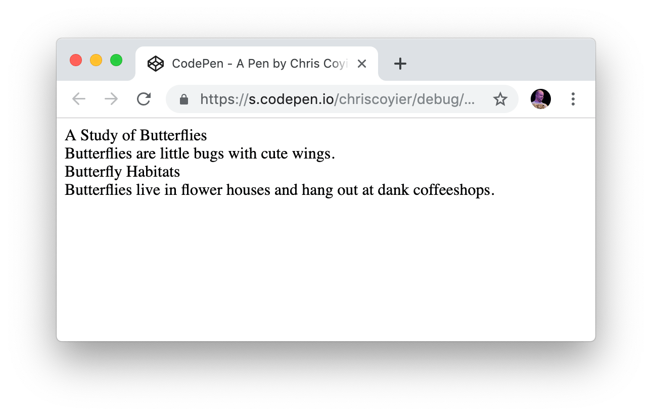 A screenshot of the HTML rendered on the front-end showing the content on four lines, one for each div.