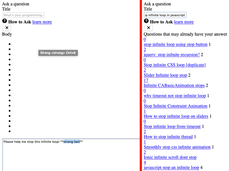 "The ""Ask a Question"" page showing blank bullets and questions that may already have an answer. Strong tag tooltip is displayed for one of the bullets."