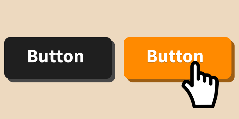 An illustration of a black button on the left and an orange button with a mouse cursor over it as a hover effect.