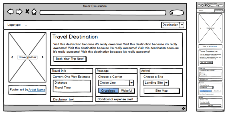 A desktop and mobile mockup of the proposed layout for the page, side by side with the desktop mockup on the left. Both mockups use rough black and white layouts of the various components for the screen.