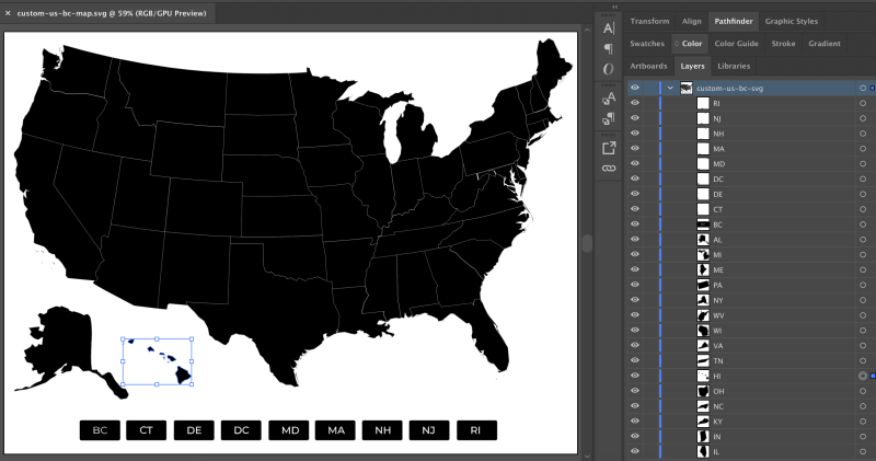 A screenshot of a black United States country map in Adobe Illustrator with the map on the left side and the layers panel on the right showing all of the image paths.