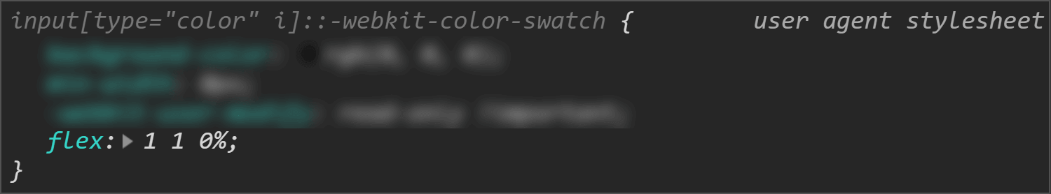Chrome DevTools screenshot showing the flex value for the swatch wrapper.