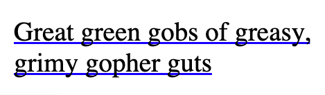 Text with underline cutting through characters