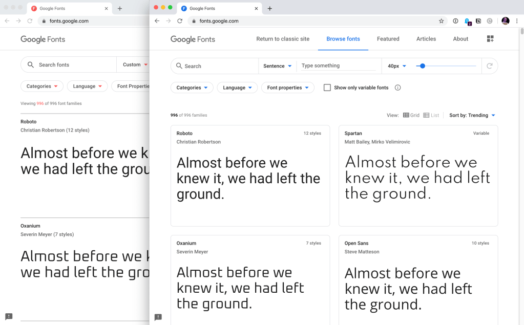 Google Fonts + Variable Fonts