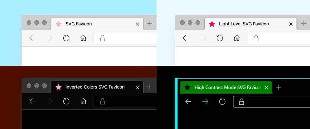 """Maquette de quatre traitements de favicon SVG. Le premier traitement est une étoile rose avec un titre d'onglet «SVG Favicon». Le deuxième traitement est une étoile rose vif avec un titre d'onglet, """"Light Level SVG Favicon"""". Le troisième traitement est une étoile rose clair avec un titre de tabulation de «Favicon Inverted Colors SVG». Le quatrième traitement est une étoile rose noire avec un titre d'onglet, """"Favicon mode SVG à contraste élevé"""". Les onglets sont des captures d'écran de Microsoft Edge, avec la mise à jour du chrome du navigateur pour correspondre à chaque mode spécialisé."""