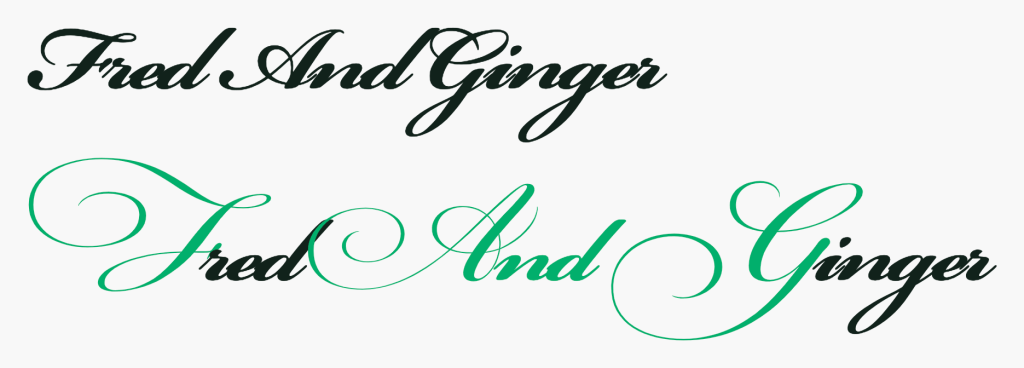 """An example of a swash being applied to a script-style typeface. There's two versions of the phrase, """"Fred And Ginger"""". The first version doesn't have swashes activated. The second example does. In the second example, the letter F, and, and the letter G are highlighted to demonstrate them being activated. Screenshot."""