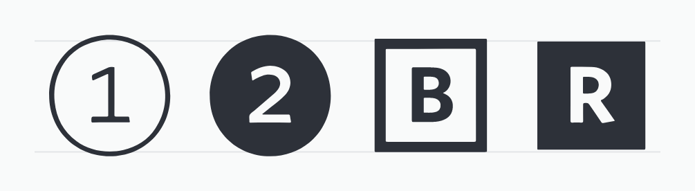 he numbers 1 and 2 enclosed in hollow and solid-filled circles. Following them are the letters B and R enclosed in hollow and solid-filled squares. Screenshot.Stylistic Alternates.