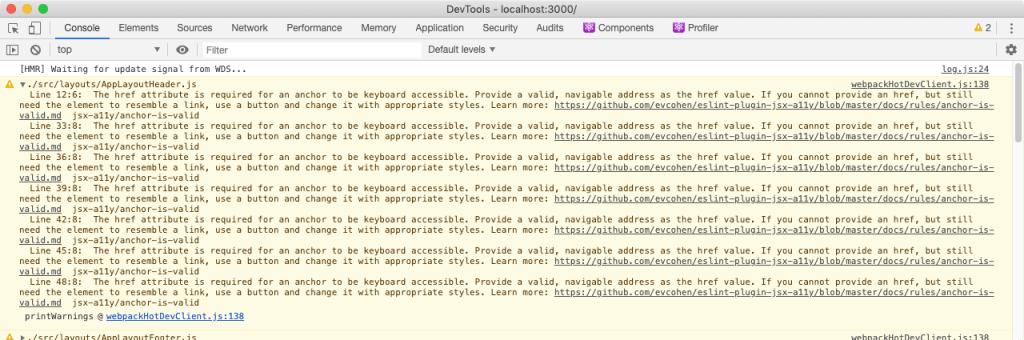 Console warnings from eslint-jsx-a11y-plugin
