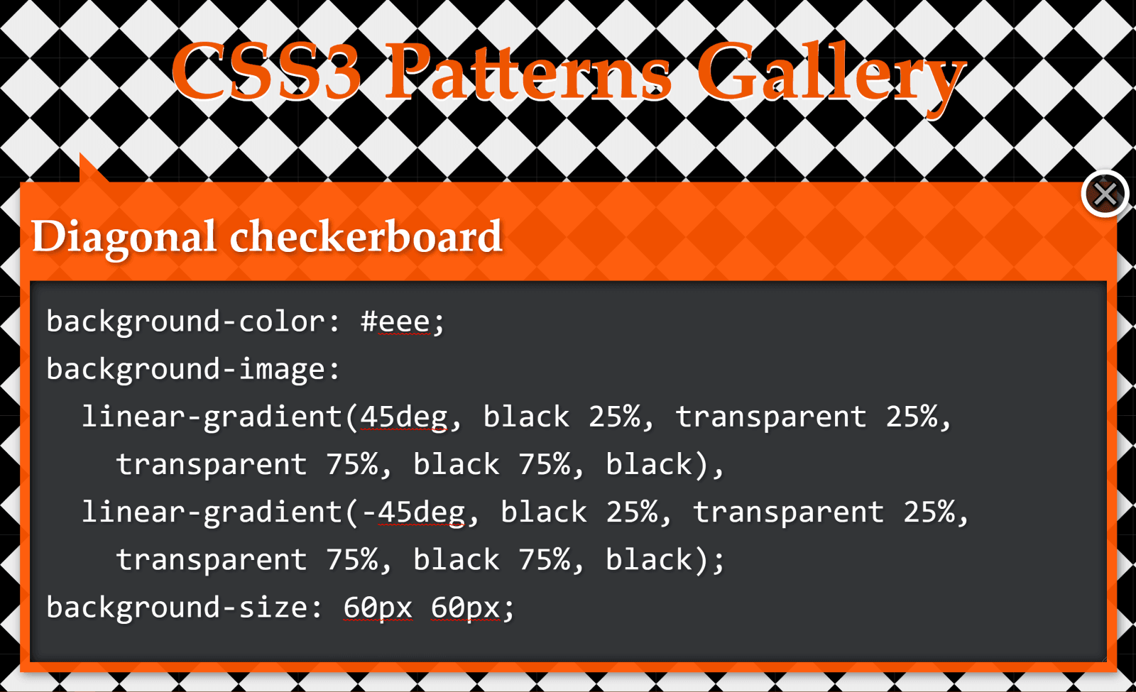 Screenshot. Shows the original diagonal checkerboard pattern with the code that was used to create it.